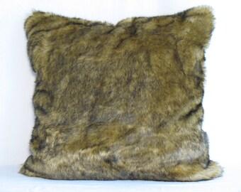 Golden Sable Faux Fur Throw Pillow Cover 22x22 Rich Accent Pillow Cover Soft Lush Sable