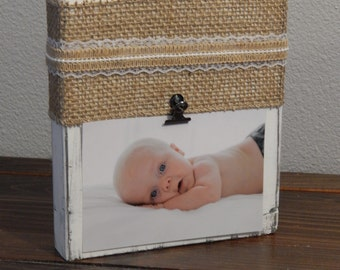 White distressed photo block Burlap, Lace, and twine, photo display rustic decor metal clip