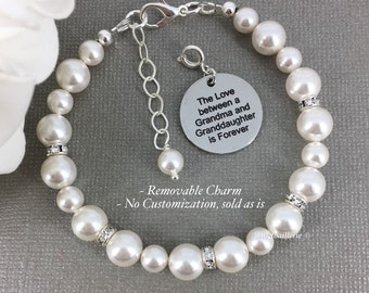 The Love between a Grandma and Granddaughter is Forever Pearl Bracelet  Grandmother Gift Swarovski Bracelet Grandma Bracelet