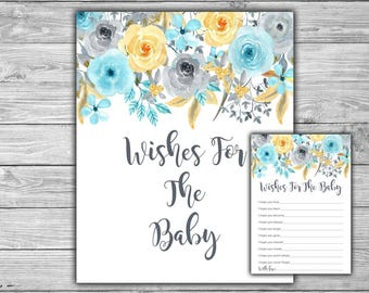 Blue - Floral - Baby Shower - Wishes For The Baby - Baby Shower - Game - PRINTABLE - INSTANT DOWNLOAD - Blue and Grey - Gray - 092