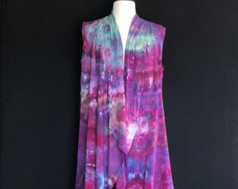 Boho Clothing Cascading Vest Bohemian Clothing Long Vest Medium Hand Dyed Waterfall Vest Mother's Day Bridesmaid Gift Handmade Gift for Her