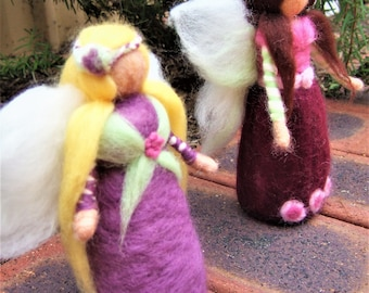 Needle felted fairy,Waldorf fairies,fairies,standing felted dolls, Waldorf nature table,decoration