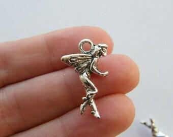 4 Fairy charms antique silver tone FB44