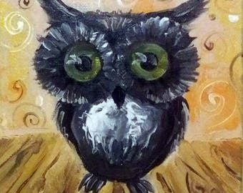 Christmas Gift Owl Painting Wall decor Original oil painting Miniature Gift for her Birthday gift