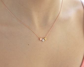 Rose Gold Necklace, Rose Gold Star Necklace, Star Necklace, Dainty Gold Necklace, Bridesmaid, Gifts for Her, Girlfriend Gifts, Best Friend