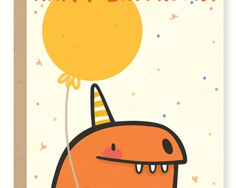 Birthday Dino Greeting Card (Red)