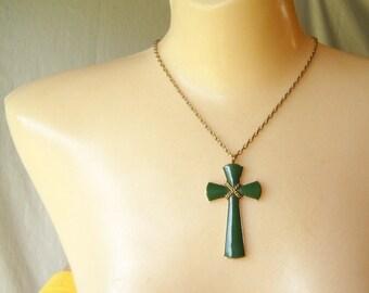 Vintage Necklace Green Cross Plastic Cross Pendant Religious Jewelry