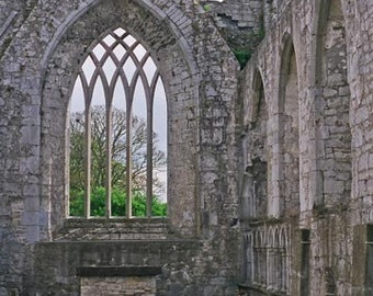 Irish Decor Ireland Abbey Askeaton Abbey Irish Photography Art Print Gray Green Fine Art Photo Apartment Decor Irish Architecture Wall Decor