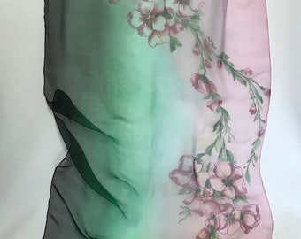 Silk shawl with pink sakuras - Hand painted - Gift for her -Birthday gift. Chiffon silk scarf