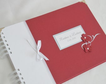 Chic red guest book