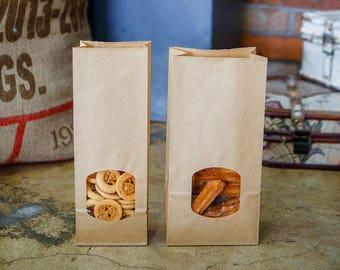 10 Flat Bottom Grease Resistant Kraft Paper Bags, Window Bags, Bakery Bag, Popcorn Bags, Cookie Bags, Candy Bags, Cake Bags, Party Favor Bag