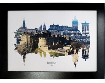 Edinburgh, Scotland Skyline Print with aerial city photo