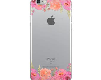 Watercolor Pink Floral Flowers iPhone 7 and iPhone 8 Transparent Clear Phone Case with 3D UV Printed Design