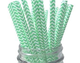 Mint Chevron 25pc Paper Straws