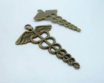 10pcs 30x48mm Antique Bronze Hermes Caduceus Snake Key Caduceus Medical Symbol Mercurial Staff with Wings Snakes Charms Pendant c3958