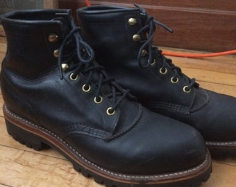 Chippewa Boots Size 10 Black Leather Ankle Height Barely Worn