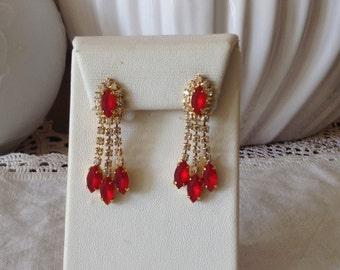 Vintage austrian red glass clip earrings