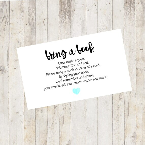 Baby Shower Printable, Baby Shower Bring A Book Card, Bring A Book Instead  Of A Card, Bring A Book Baby Shower Insert Pastel Blue