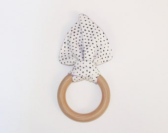 "3"" White, Black & Purple Hearts Wooden Bunny Ear Teething Ring Toy // by Elle Lee and Me"