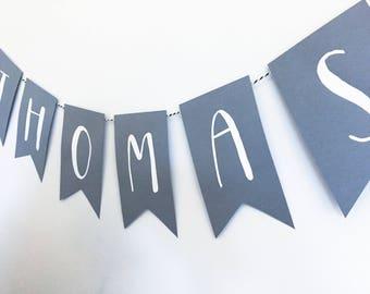 Custom Banner- Grey + White- Hand painted