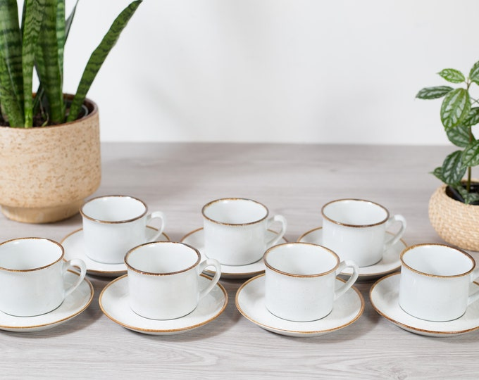 7 Vintage Speckled Coffee Cups and Saucers - Stoneybrook Rustic Cabin Cottage Mugs - Brown and White Pattern Mid Century Modern Tea Cups