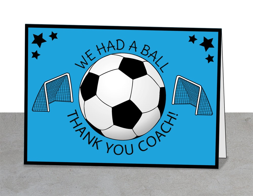 soccer thank you card soccer coach coaches instant