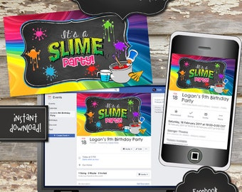 SLIME PARTY Facebook Event Cover Image - Instantly Downloadable Digital File