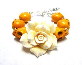 Day Of The Dead Bracelet Sugar Skull Jewelry Rose Strand Mustard Yellow White