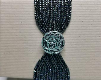 Wide herringbone beaded bracelet