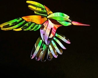 Custom Shop GST-9 Dichroic Stained Glass Hummingbird Bevel Cluster - left facing