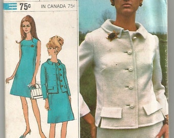 7301 Simplicity Sewing Pattern Sleeveless Collarless Dress Lined Jacket Size 12 32B Vintage 1960s