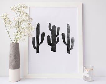 Cactus Print, impression sud-ouest, cactus Wall Art, Arizona Art mural, Poster mural de l'Ouest, Modern Home Decor, Cactus noir impression, impression Western