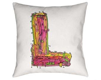 Whimsical, Letter L Pillow, Throw Pillow, Decorative pillow, monogram pillow, Personalized pillow, typography art, Alphabet Art, Ingridsart