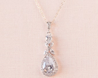 Crystal Bridal Necklace, Rose gold Wedding Jewelry, Crystal Drop Bridal necklace Swarovski crystal Bridesmaids jewelry, Amielynn Necklace