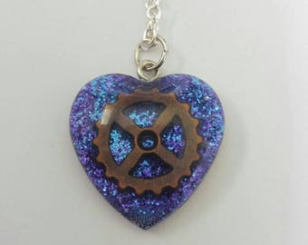 Steampunk Blue Heart and Gear Necklace