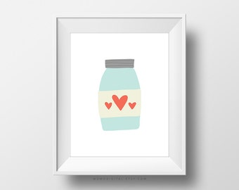 SALE -  Hearts In Jar, Heart Print, Love Print, Wedding Gift, Teal Coral, Modern Print, Love Print, Mason Jar, Wall Art Decor, Nursery