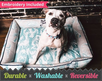 Pink Custom Dog Bed | FREE PERSONALIZATION | Dog Bed Pillow | Washable Pet Bedding | Reversible