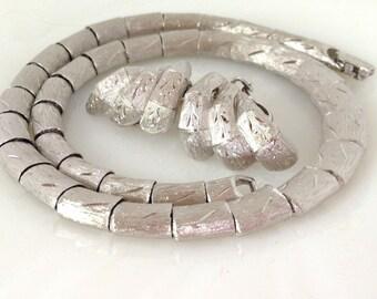 Signed KRAMER Brushed Silver Necklace Earring Set Excellent Condition