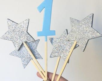 Cake Topper Glitter Stars