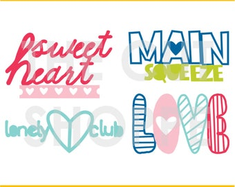 The Main Squeeze cut file includes 4 love themed phrases, that can be used for your scrapbooking and papercrafting projects.