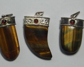 Set of 3 tiger eye silver pendants