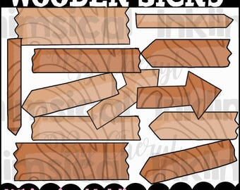 Wooden Signs Clipart Collection- Immediate Download