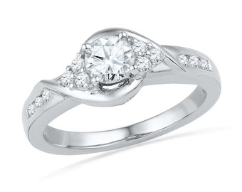 Round Cut Diamond Engagement Ring With 0.68 CT. T.W., Sterling Silver, 10k, or 14k White Gold Diamond Ring