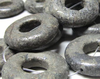 Pyrite Beads 25mm Smooth Raw Iron With Gold Pyrite Flecks Large Disco Donuts - 8 Pieces