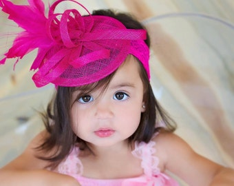 Toddler Fascinator, Baby Little Girl's Fascinator, Tea Party Hat, Church Hat, Kentucky Derby Hat, Pink Hat, Tea Party Hat,  Baby Fascinator,