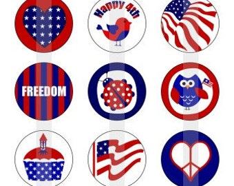 "Happy 4th of july- one 4x6 inch digital sheet of 1"" round images for bottlecaps, magnets, glass tiles, pendants etc."