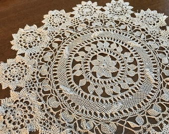 Antique/Early Armenian Needle Lace~Round Doily~Heirloom~Hand-Made Needlelace~11 Inches