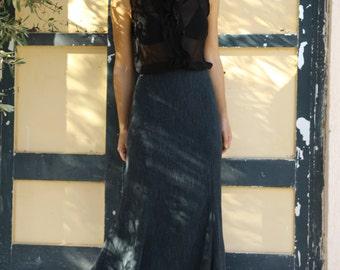 Vintage Mediterranean blue petrol mid calf skirt.size S,M,L,XL,XXL