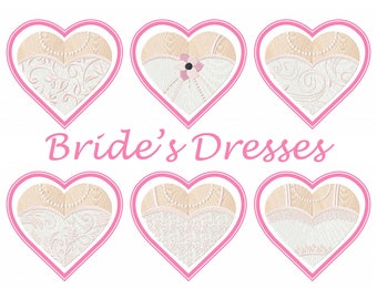 Machine Embroidery Designs - Bride & Groom Hearts - Bride Dress Collection of 6
