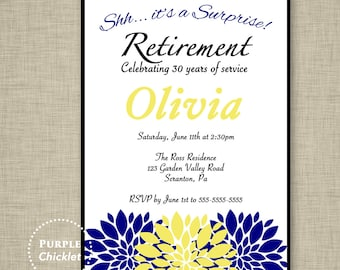 Surprise Navy Retirement Party Invitation Navy Blue Yellow Floral Farewell Celebration Invitation Printable Invite 5x7 Digital JPG File 15